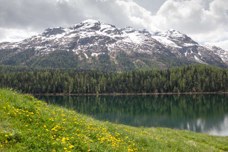 Lake St. Moritz , Switzerland. smaller lake of the Upper Engadin valley