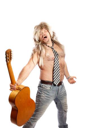 glam rock: old school rock n roll singer on white background
