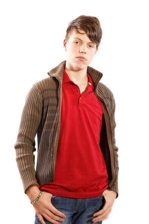 casual young boy on a white background photo