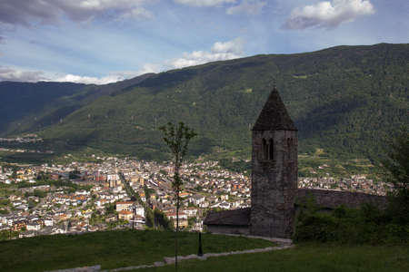 Tirano  is a town in Valtellina, located in the province of Sondrio, Northern Italy.Church of St. Perpetua in front. photo