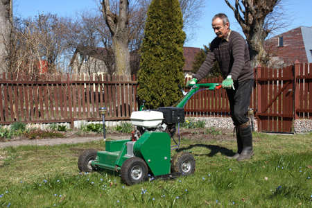 Lawn Aerator.A lawn aerator is a garden tool or machine designed to aerate the soil in which lawn grasses grow