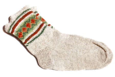 Hand knitted warm wool socks  photo