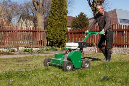 lawn mower: Lawn Aerator.A lawn aerator is a garden tool or machine designed to aerate the soil in which lawn grasses grow