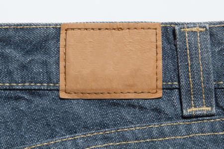 leather label: empty leather label on blue jeans Stock Photo