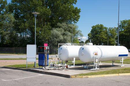 empty car autogas filling station