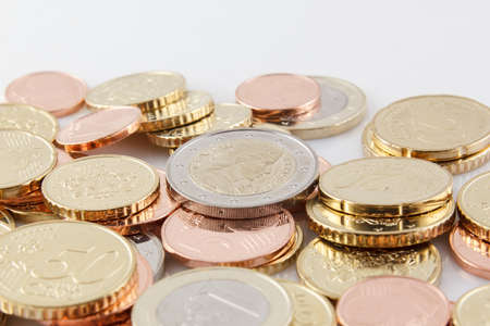 replaced: Fresh Latvian EURO coins. Euro replaced Lats in 1.January 2014 Stock Photo