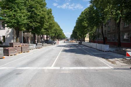 roadworks , town street repair and new sidewalks construction photo