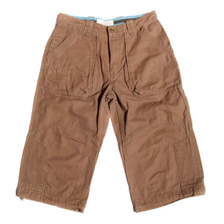 brown men cargo combat shorts on a white  photo