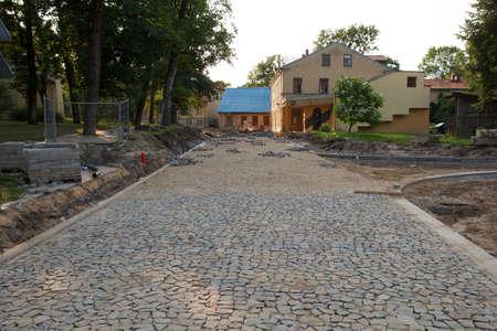 street reconstruction, new pavement on the street Stock Photo