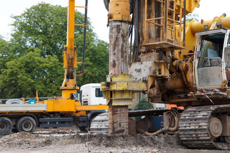 building house foundations with bore pile machine Stockfoto