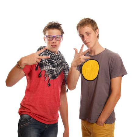 teen boys: Un paio di ragazzi adolescenti appendere fuori Archivio Fotografico
