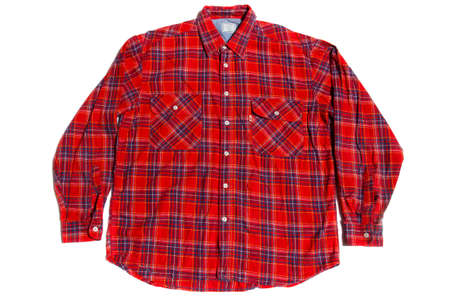 warm winter cotton flannel shirt on white background