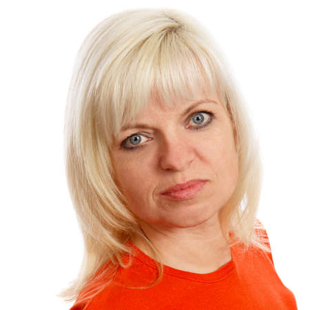 blond haired: A blond haired woman with blue eyes