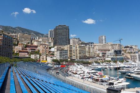 Monaco. Empty tribunes awaits the spectators before the Formula 1  Monaco GP Redactioneel