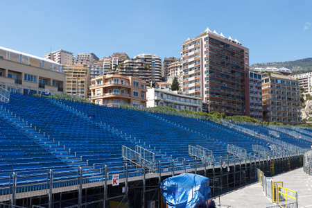 gp: Monaco. Empty tribunes awaits the spectators before the Formula 1  Monaco GP Editorial