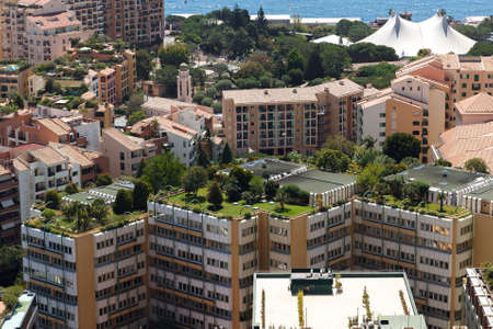 Monaco building roofs with green gardens on 에디토리얼