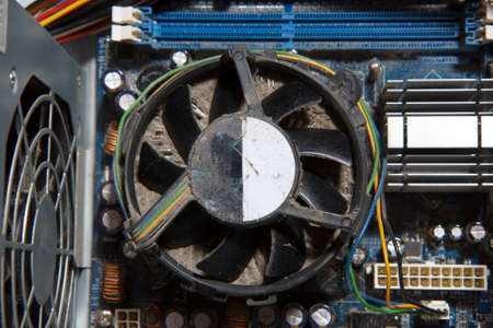 unclean: A very dusty and unclean computer fan Stock Photo