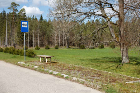 bus station: A bus stop in a rural area