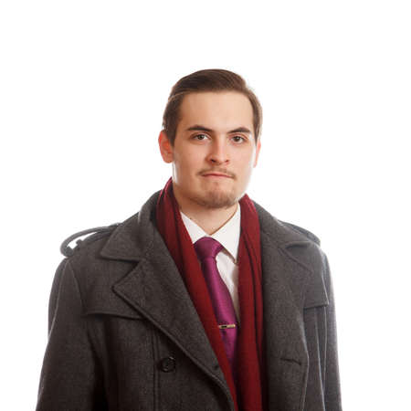 classy: An young adult in a classy coat on white background
