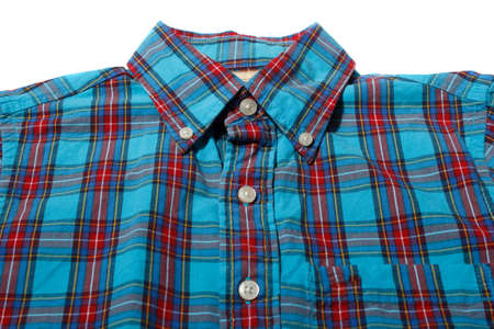 Red and blue checkered long sleeved shirt Stock Photo
