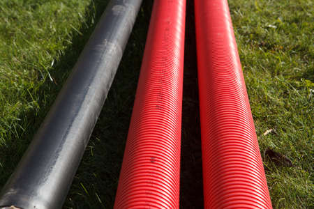 New plastic pvc pipes for a pipeline Stock Photo