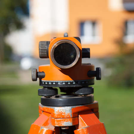 surveyor: Land Surveyor equipment theodolite in construction site Stock Photo