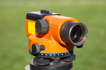 Land Surveyor equipment theodolite in construction site Stock Photo