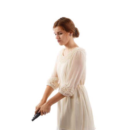 Lady reloading a gun