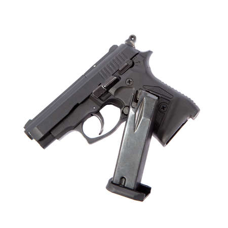 Pistol and its magazine isolated on a white Stock Photo