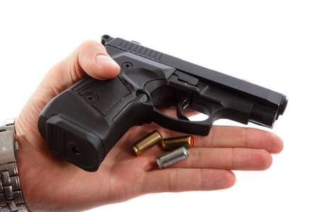 Gun in man hand 版權商用圖片