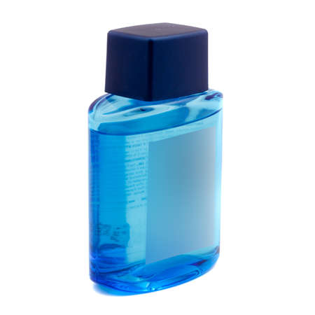 blue bottle with liquid