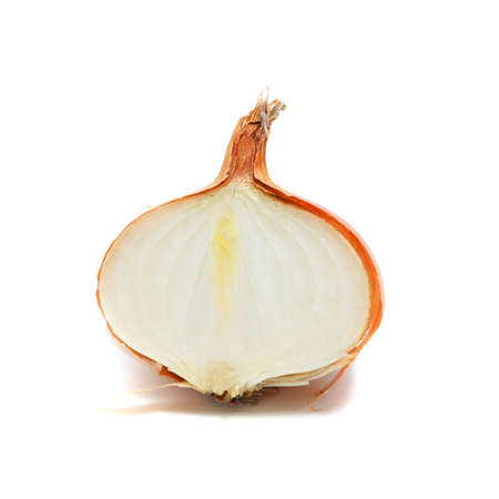 fresh half onion on a whithe background