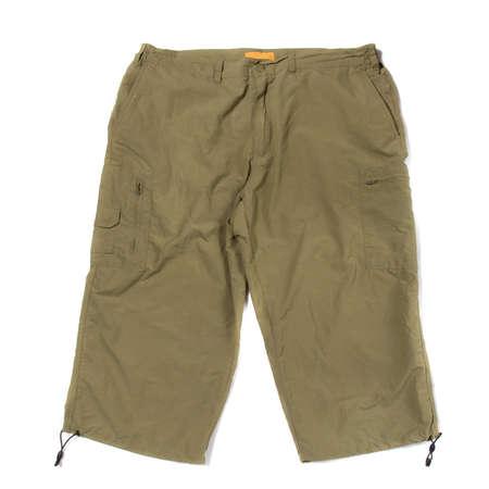 Green hiking shorts isolated on white background 版權商用圖片