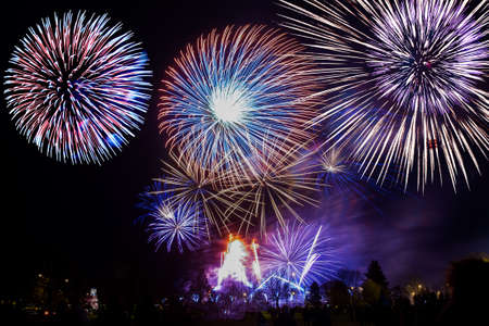 colorful fireworks on the night sky background. Imagens