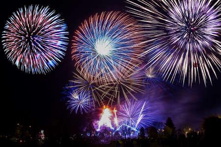 feux d'artifice colorés sur le fond de ciel nocturne. Banque d'images