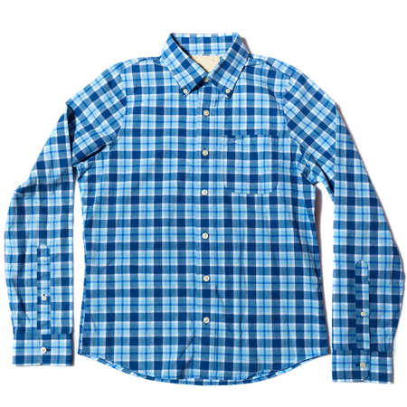 Blue checked button down casual shirt on white background