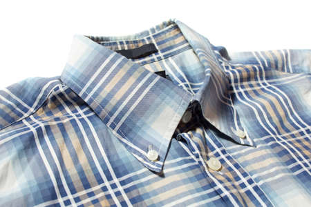 blue check shirt with button down collar