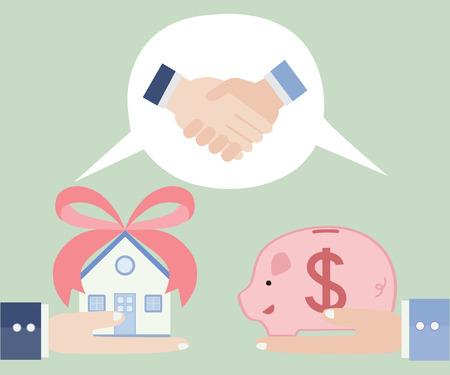 house exchange: Trading real estate ,vector illustration cartoon