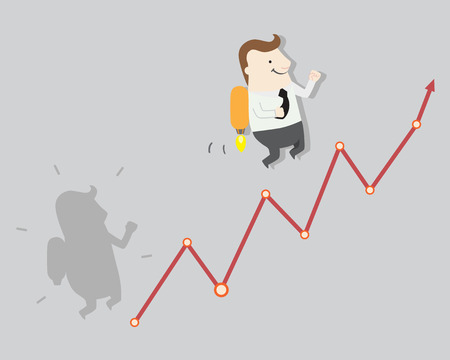 beginnings: graph growth to take profit, vector illustration