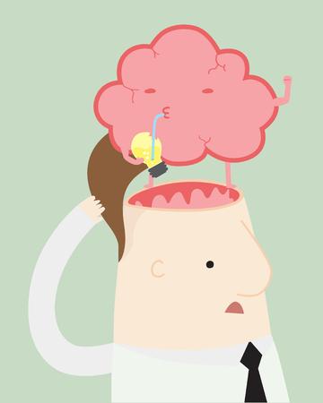 brain illustration: Brain Strong ,vector illustration cartoon