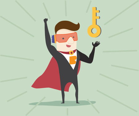 solve problem: Super businessman solve problem ,vector illustration cartoon