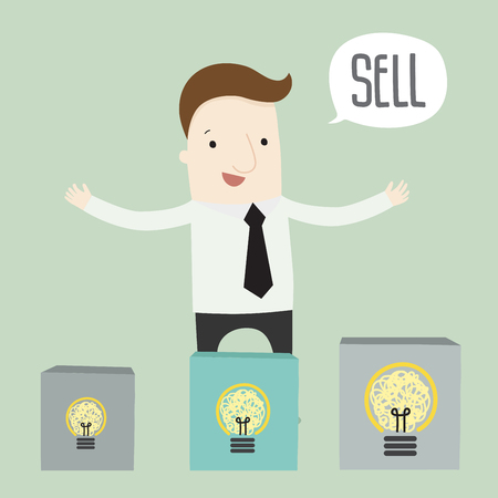solve problem: Sell idea for solve a problem ,vector illustration business cartoon Illustration