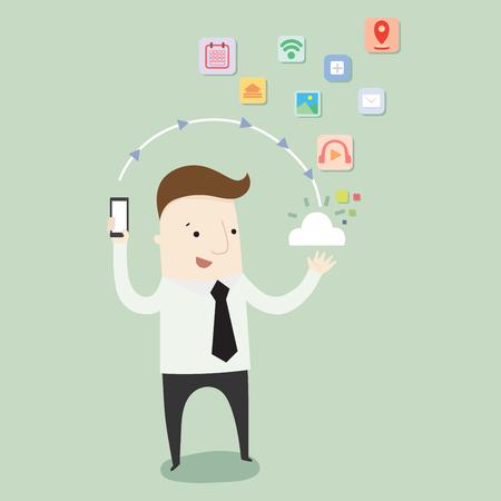 cloud technology: Technology in cloud ,vector illustration technology cartoon Illustration