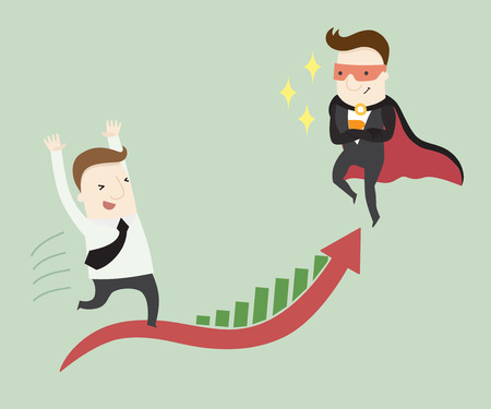 dare: Super businessman dare you to success in your work ,vector illustration business cartoon