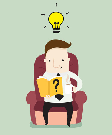 Businessman reading a book ,vector illustration business and education cartoon Illustration