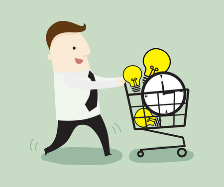 Businessman buy time and ideas with shopping cart ,vector illustration business cartoon Illustration
