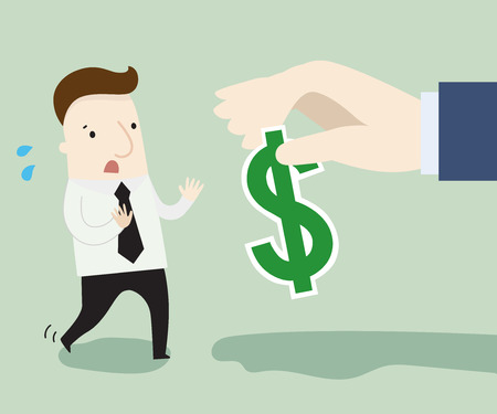 refusing: Busnessman refusing money offered by other company ,vector illustration business cartoon Illustration