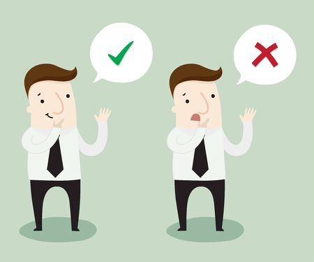 contemplate: Think right or wrong by yourself ,vector illustration business cartoon