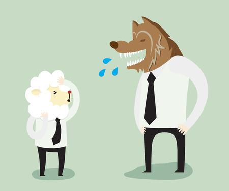 Trabajador del lobo y de las ovejas, historieta del negocio del ejemplo del vector Ilustración de vector