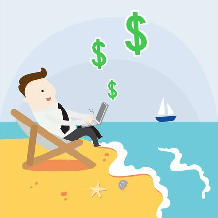 Passive income from internet ,vector illustration business cartoon Illustration